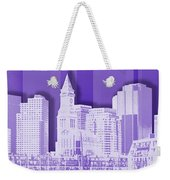Boston Skyline - Graphic Art - Purple Weekender Tote Bag
