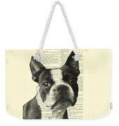 Boston Terrier Portrait In Black And White Weekender Tote Bag
