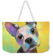 Boston Terrier Puppy Dog Painting Print Weekender Tote Bag