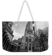 Boston Trinity Church And Hancock Building Boston Ma Black And White Weekender Tote Bag