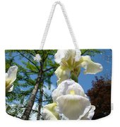 Botanical Landscape Trees Blue Sky White Irises Iris Flowers Weekender Tote Bag