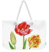 Botanical Tulip Bouquet Watercolor Weekender Tote Bag
