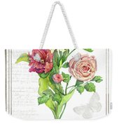 Botanical Vintage Style Watercolor Floral 3 - Peony Tulip And Rose With Butterfly Weekender Tote Bag