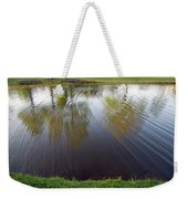 Grass On Both Sides With Water Between Weekender Tote Bag