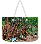 Bottle Fence In Golden New Mexico Weekender Tote Bag