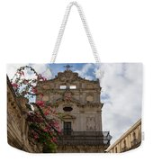 Sunlit Pink Bougainvillea At Santa Lucia Alla Badia Church In Syracuse Sicily Weekender Tote Bag