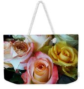 Bouquet Of Mature Roses At The Counter Weekender Tote Bag