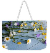 Bouquet Of Wild Flowers On A Wooden Weekender Tote Bag