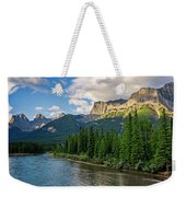 Bow River And Three Sisters Canmore Weekender Tote Bag