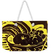 Bowl Of Fruit Black On Yellow Weekender Tote Bag