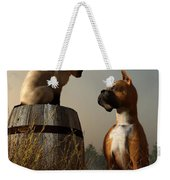 Boxer And Siamese Weekender Tote Bag by Daniel Eskridge