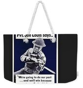 Boxer Joe Lewis As Army Private Poster 1942 Color And Frame Added 2016 Weekender Tote Bag