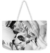 Boy And Dog Hiding Under Blanket Weekender Tote Bag
