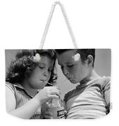 Boy And Girl Sharing A Soda, C.1950s Weekender Tote Bag