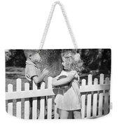 Boy And Girl Talking Over Fence, C.1940s Weekender Tote Bag
