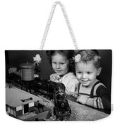 Boy And Girl With Train Set, C.1950s Weekender Tote Bag