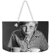 Boy Drinking Three Shakes At Once Weekender Tote Bag