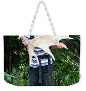 Boy Holding A Moose Antler Weekender Tote Bag