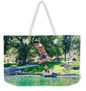 Boy Jumping Off The Board Into Dierkes Lake In Snake River Near Twin Falls-idaho   Weekender Tote Bag
