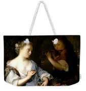 Boy Playing A Flute To A Young Woman Weekender Tote Bag