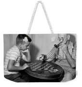 Boy Playing Checkers With Grandfather Weekender Tote Bag