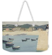 Boy Reading On A Harbour's Edge  Weekender Tote Bag