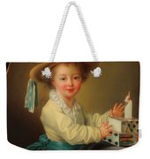 Boy With A House Of Cards                                   Weekender Tote Bag