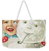 Boy With A Snowman Weekender Tote Bag