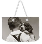 Boy With Puppy, C.1930-40s Weekender Tote Bag