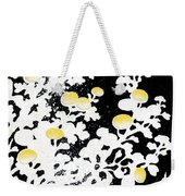 Branches Of White Yellow Leaves And Flowers At Night, Black Background Weekender Tote Bag