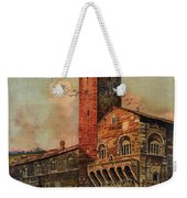 Brescia, Italy - Birds Flying Around Tower - Retro Travel Poster - Vintage Poster Weekender Tote Bag