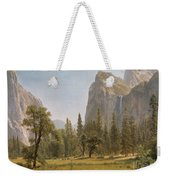 Bridal Veil Falls Yosemite Valley California Weekender Tote Bag by Albert Bierstadt