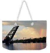 Bridge And Rainbow Over Seekonk River Weekender Tote Bag
