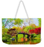 Bridge With Red Bushes In Spring Weekender Tote Bag