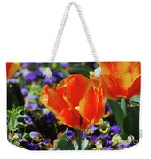 Bright And Colorful Orange And Red Tulip Flowering In A Garden Weekender Tote Bag