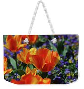 Bright Colored Garden With Striped Tulips In Bloom Weekender Tote Bag