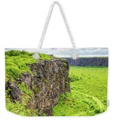 Bright Green Asbyrgi Canyon In Iceland Weekender Tote Bag