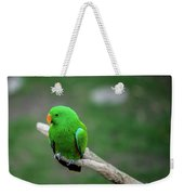 Bright Green Parrot Weekender Tote Bag