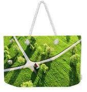 Bright Green Spring Meadow Aerial Photo Weekender Tote Bag