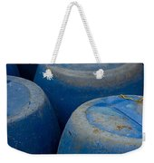 Brightly Colored Blue Barrels Weekender Tote Bag