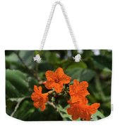 Brilliant Orange Tropical Flower Weekender Tote Bag