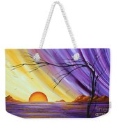 Brilliant Purple Golden Yellow Huge Abstract Surreal Tree Ocean Painting Royal Sunset By Madart Weekender Tote Bag