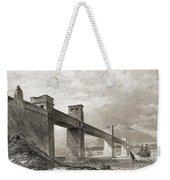 Britannia Bridge Across Menai Strait Weekender Tote Bag