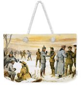 British And German Soldiers Hold A Christmas Truce During The Great War Weekender Tote Bag