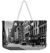 Broadway, New York In Black And White Weekender Tote Bag