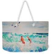 Brooke And Carey In The Shore Break Weekender Tote Bag