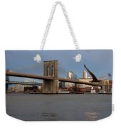 Brooklyn Bridge And Bird In Flight Weekender Tote Bag