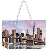 Brooklyn Bridge And Skyline At Sunrise, New York, Usa Weekender Tote Bag