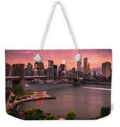 Brooklyn Bridge Over New York Skyline At Sunset Weekender Tote Bag