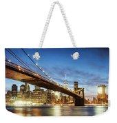 Brooklyn Bridge Panoramic At Night, New York, Usa Weekender Tote Bag